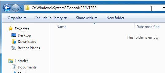 Clear printer spooler